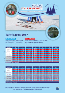 Scuola Sci Pescasseroli - Tariffe noleggi alta/bassa stagione